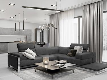 В серых тонах: стильный интерьер одноэтажного дома
